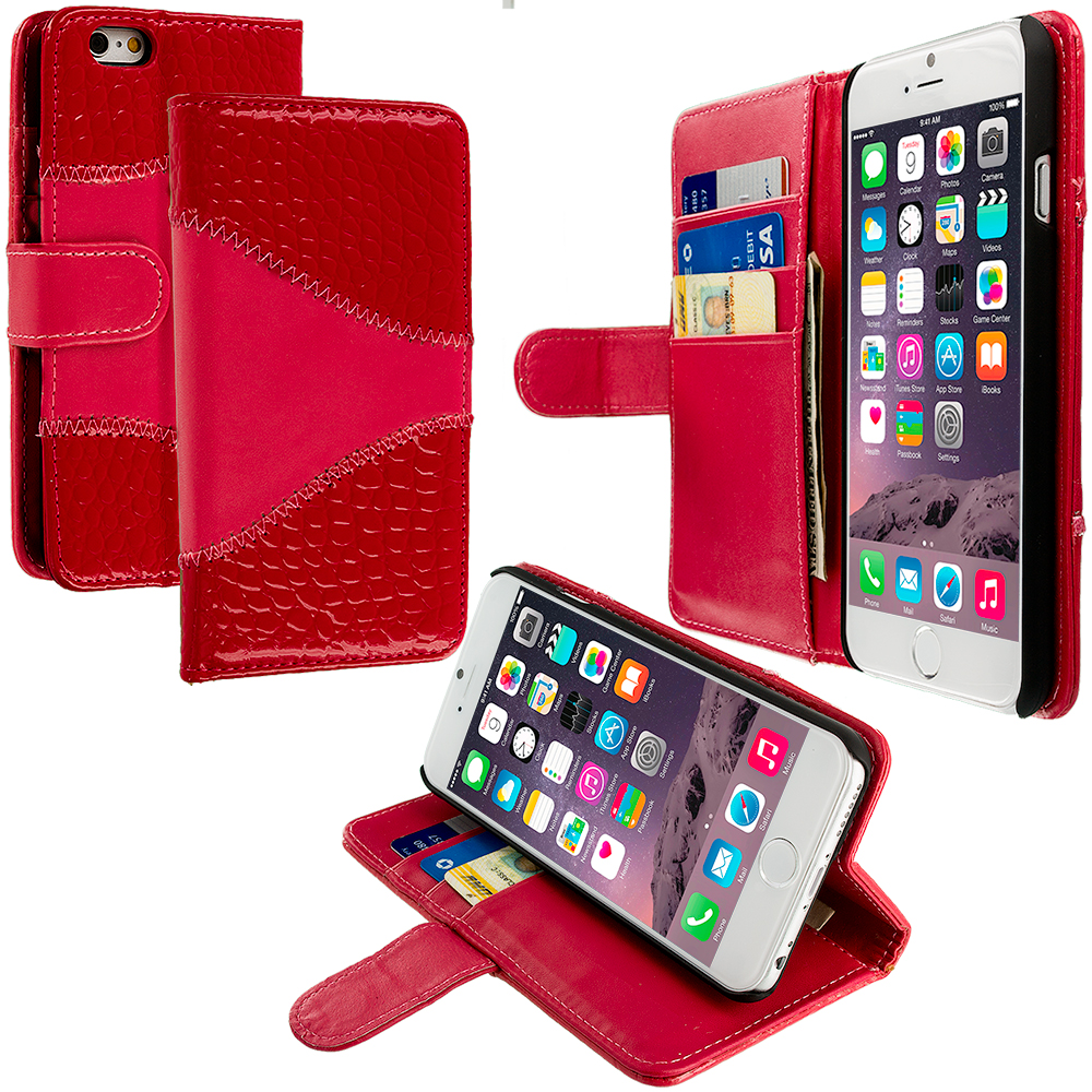 Apple iPhone 6 Plus 6S Plus (5.5) 4 in 1 Combo Bundle Pack - Crocodile Leather Wallet Pouch Case Cover with Slots : Color Red Crocodile