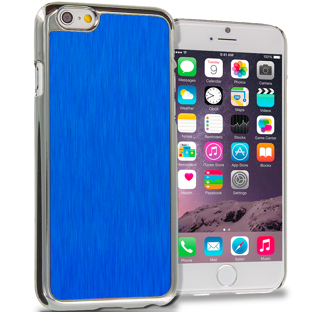 Apple iPhone 6 6S (4.7) 6 in 1 Combo Bundle Pack - Aluminum Metal Hard Case Cover : Color Blue Brushed