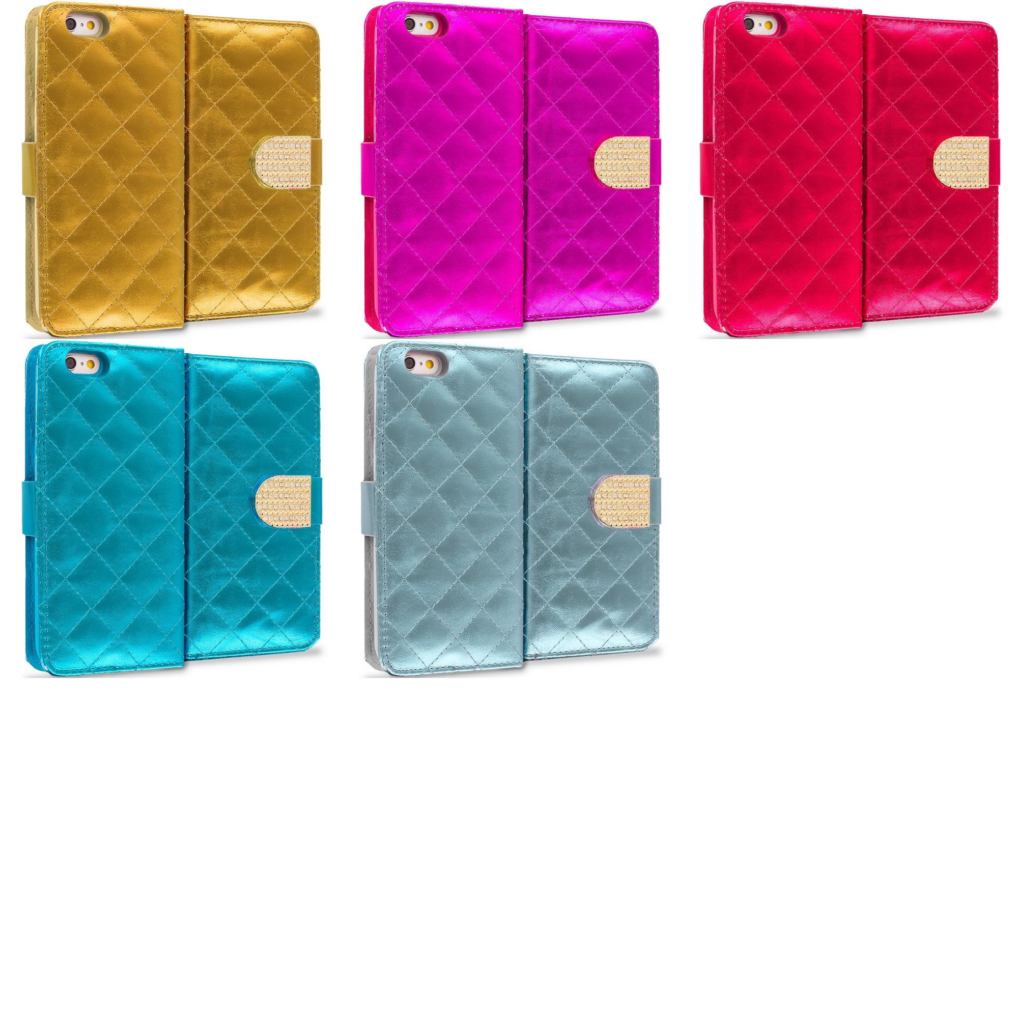 Apple iPhone 6 Plus 6S Plus (5.5) 5 in 1 Combo Bundle Pack - Luxury Wallet Diamond Design Case Cover With Slots