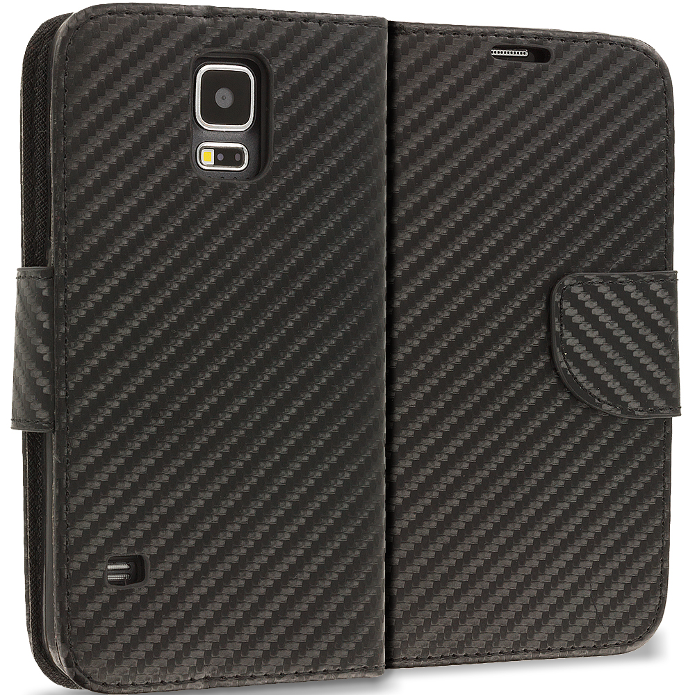 Samsung Galaxy S5 Wallet Carbon Fiber Leather Wallet Pouch Case Cover with Slots