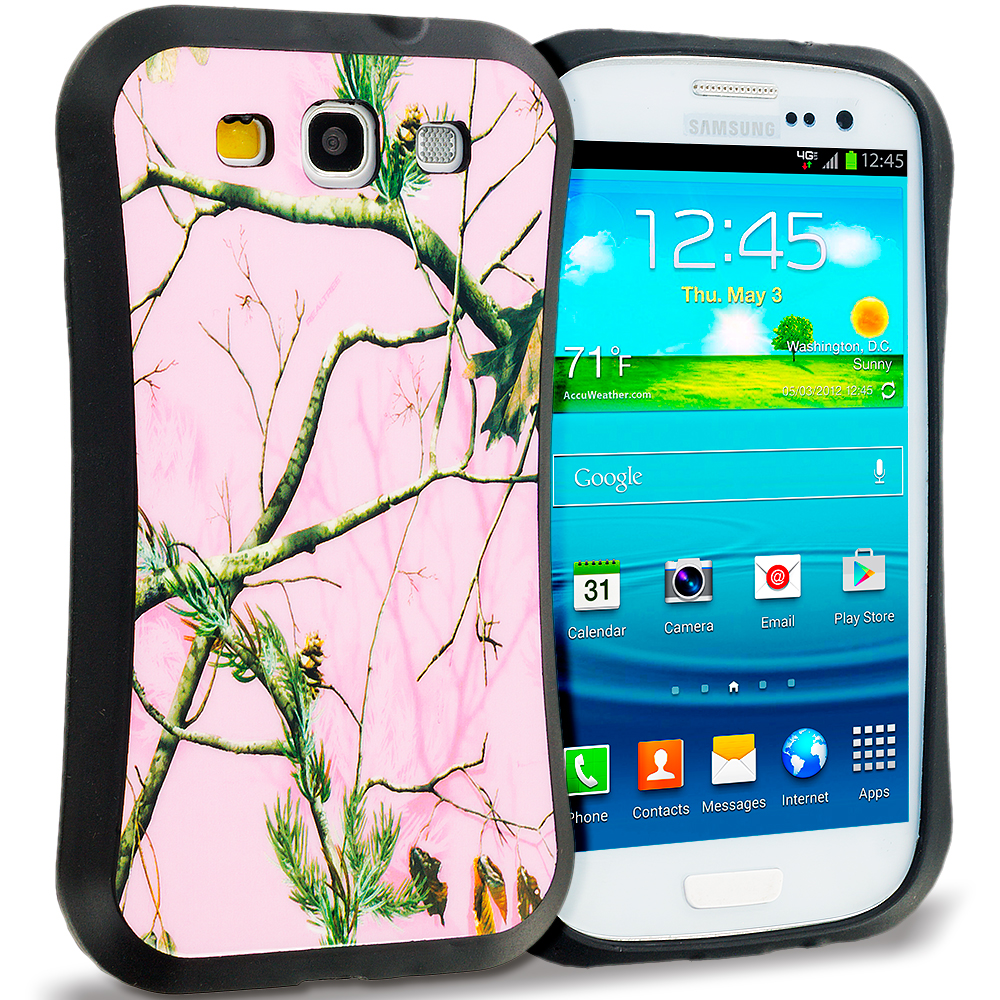 Samsung Galaxy S3 Pink Tree Hybrid TPU Hard Soft Shockproof Drop Proof Case Cover