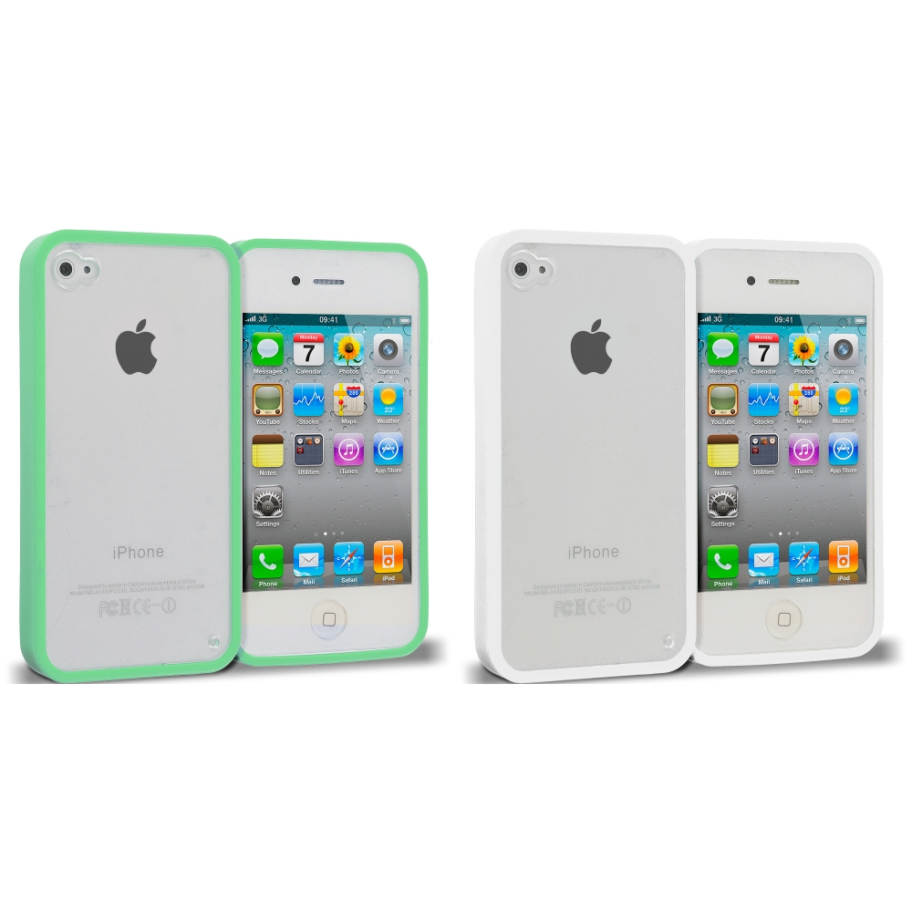 Apple iPhone 4 / 4S 2 in 1 Combo Bundle Pack - White Green TPU Plastic Hybrid Case Cover