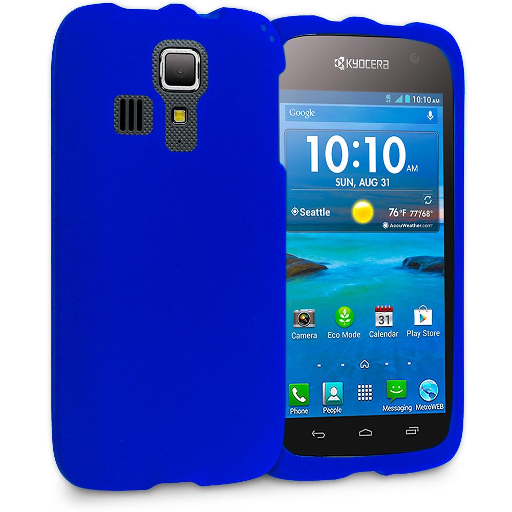 Kyocera Hydro Icon / Hydro Life Blue Hard Rubberized Case Cover