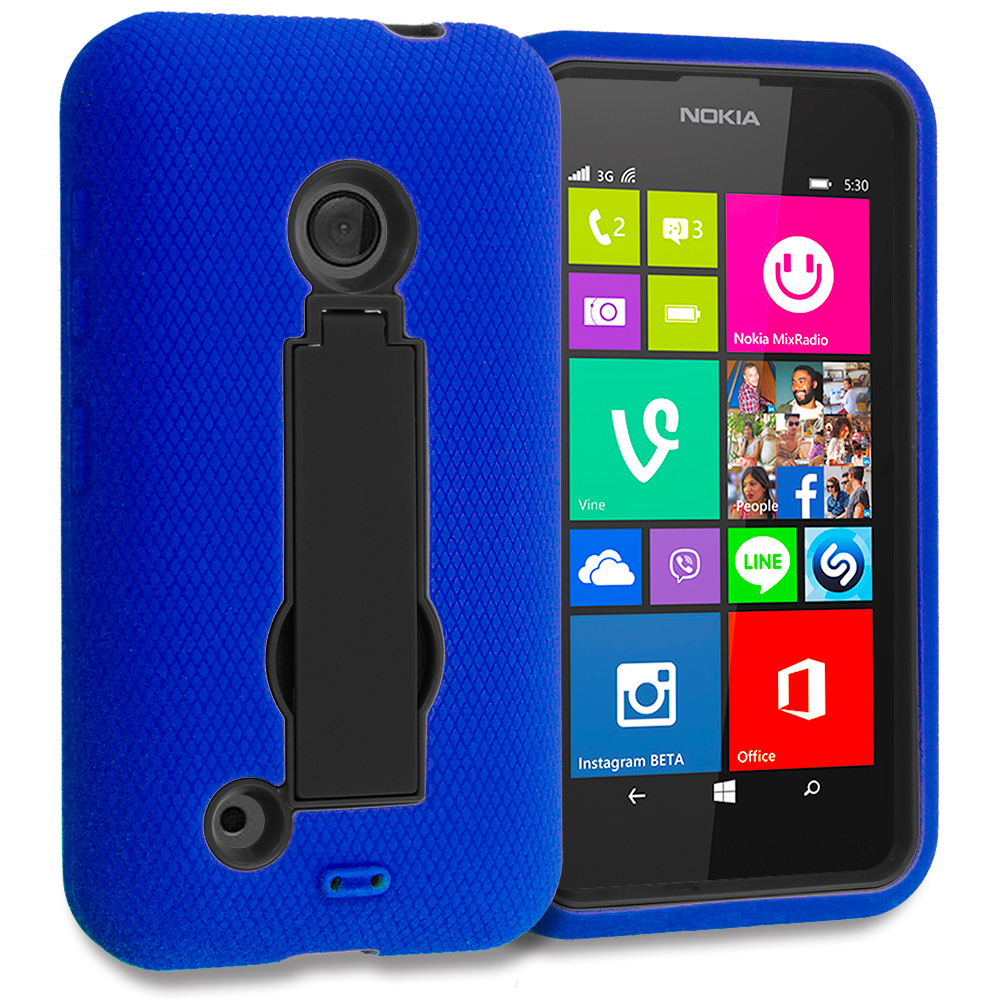Nokia Lumia 530 Blue / Black Hybrid Heavy Duty Hard Soft Case Cover with Kickstand