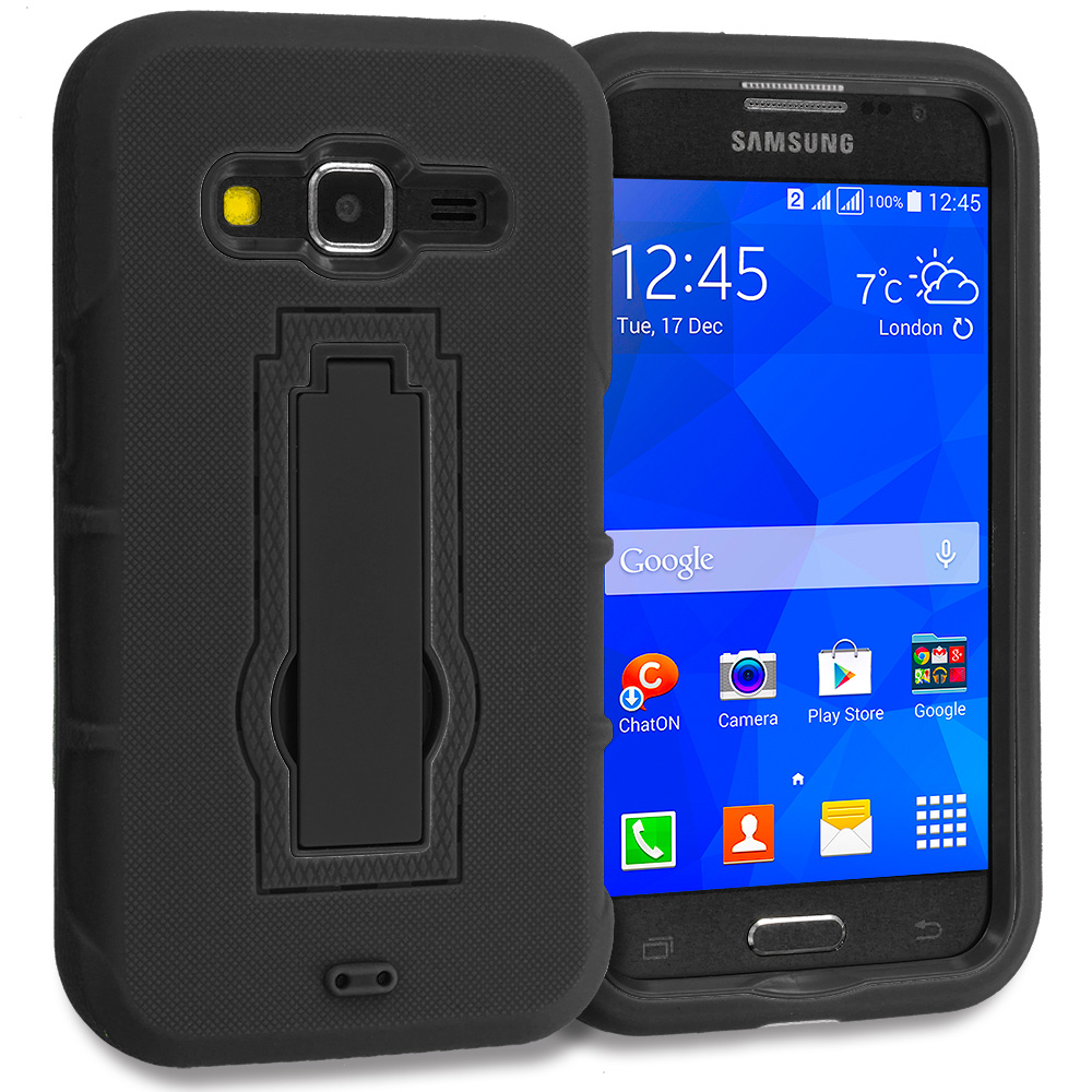 Samsung Galaxy Prevail LTE Core Prime G360P Black / Black Hybrid Heavy Duty Hard Soft Case Cover with Kickstand