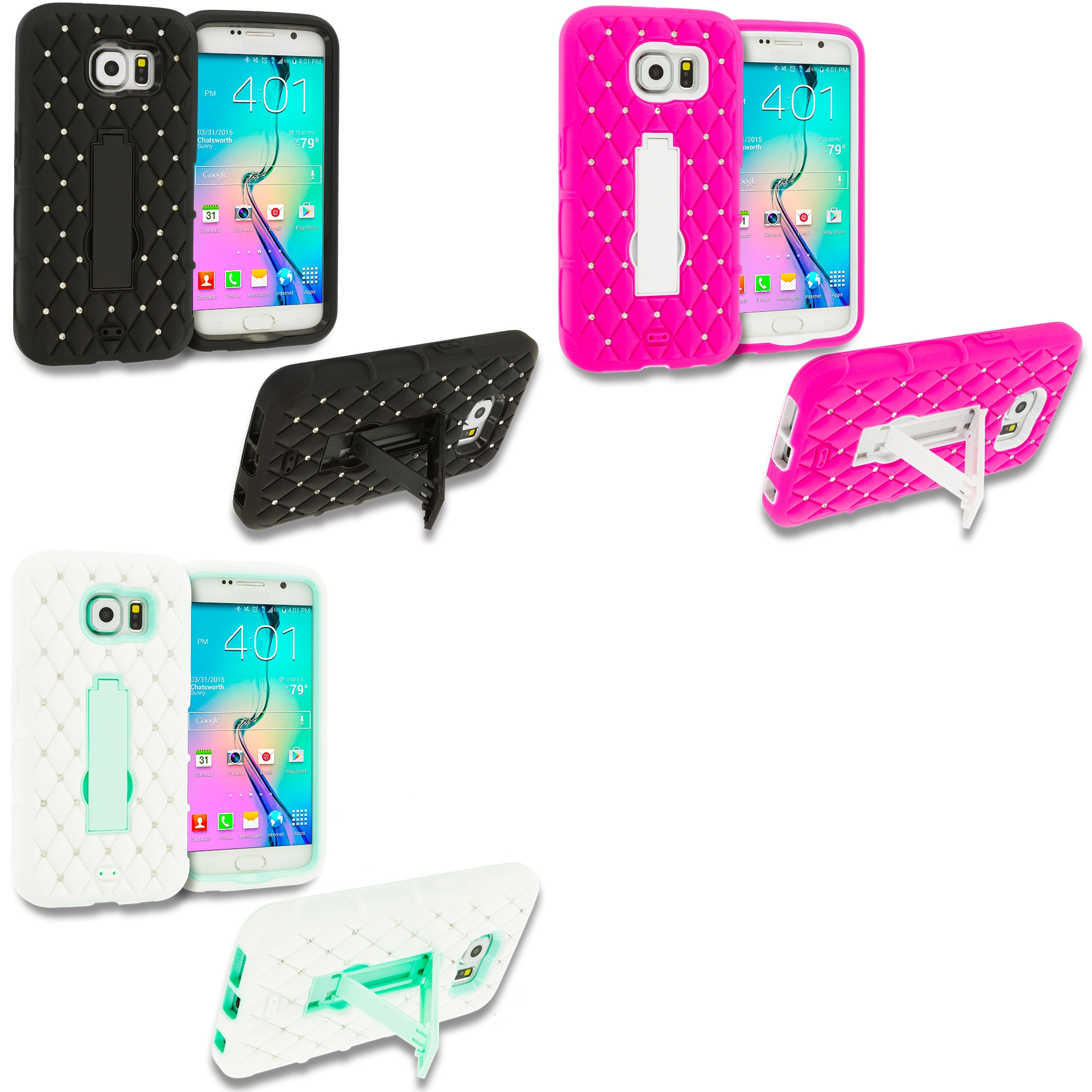Samsung Galaxy S6 3 in 1 Combo Bundle Pack - Hybrid Diamond Bling Hard Soft Case Cover with Kickstand