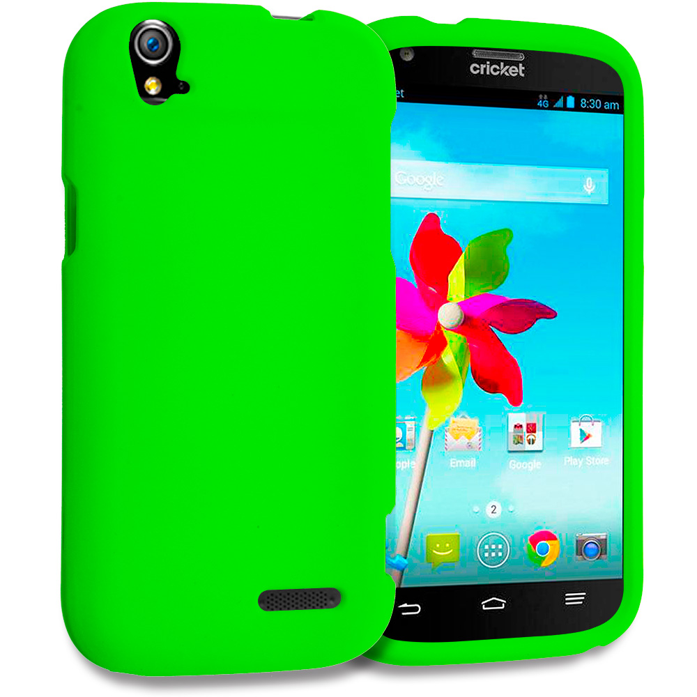 ZTE Grand X Z777 Neon Green Hard Rubberized Case Cover