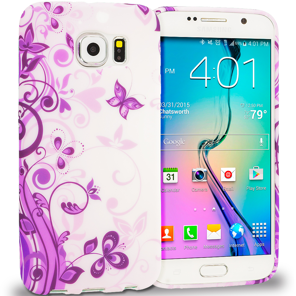 Samsung Galaxy S6 Purple Swirl TPU Design Soft Rubber Case Cover