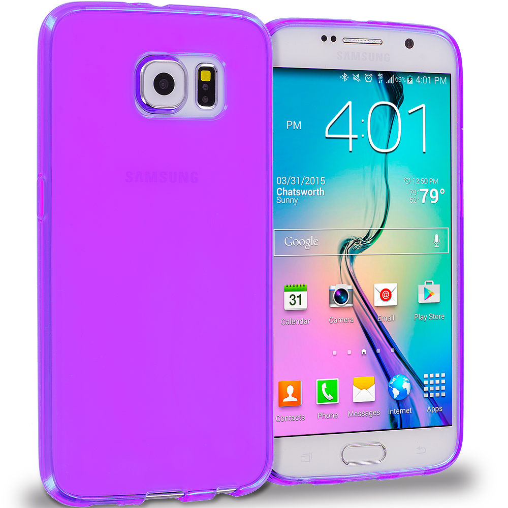 Samsung Galaxy S6 Combo Pack : Hot Pink Plain TPU Rubber Skin Case Cover : Color Purple Plain
