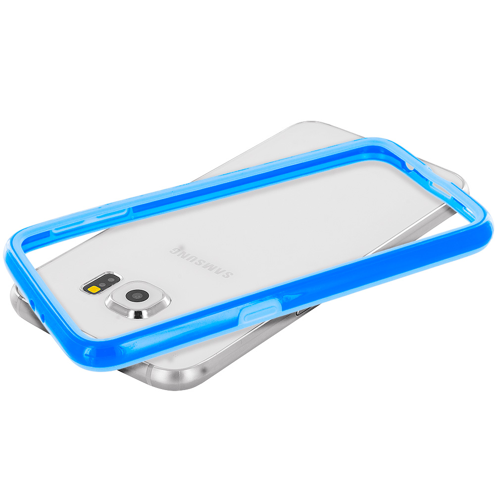 Samsung Galaxy S6 Combo Pack : Purple TPU Bumper Frame Case Cover : Color Blue