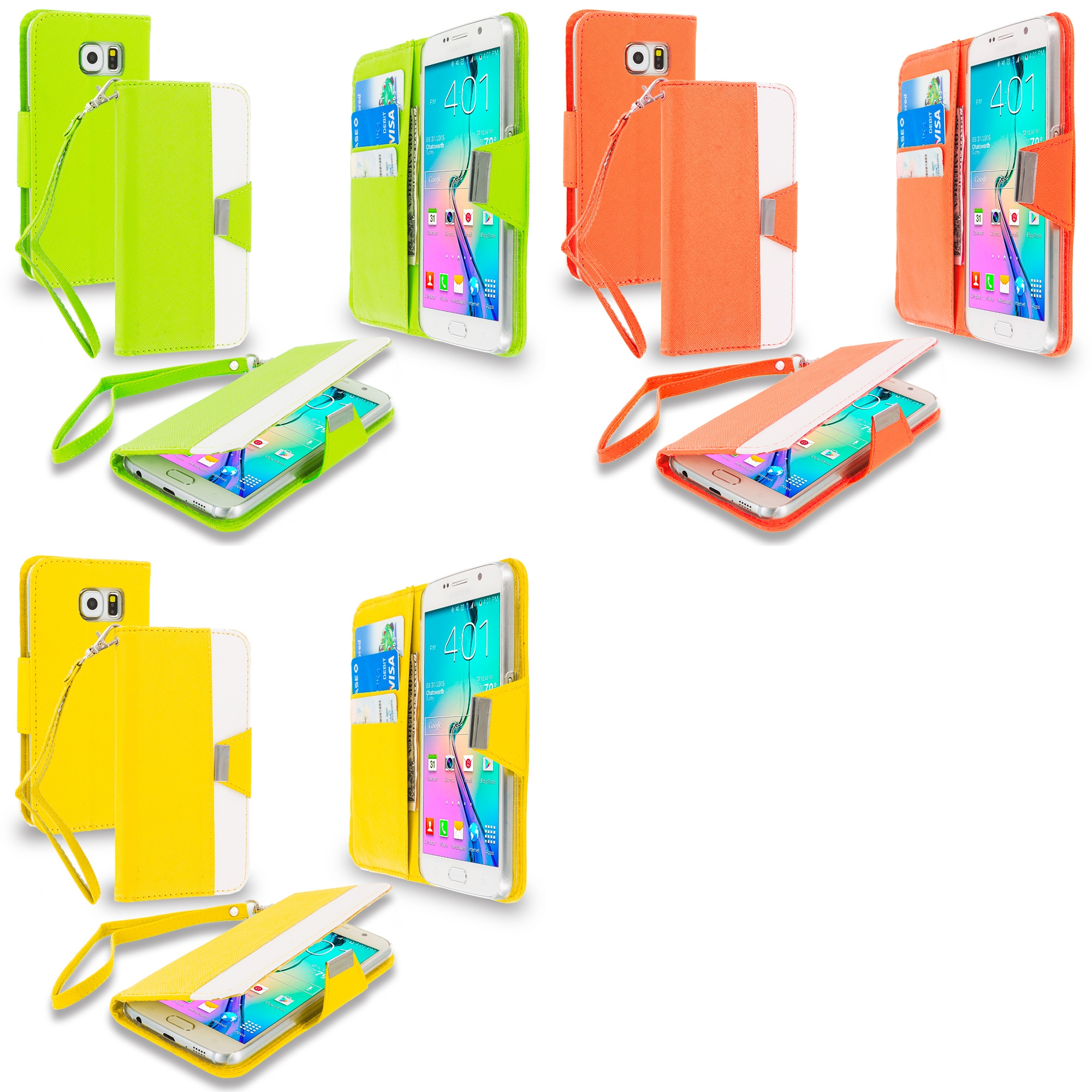 Samsung Galaxy S6 Combo Pack : Yellow Wallet Magnetic Metal Flap Case Cover With Card Slots