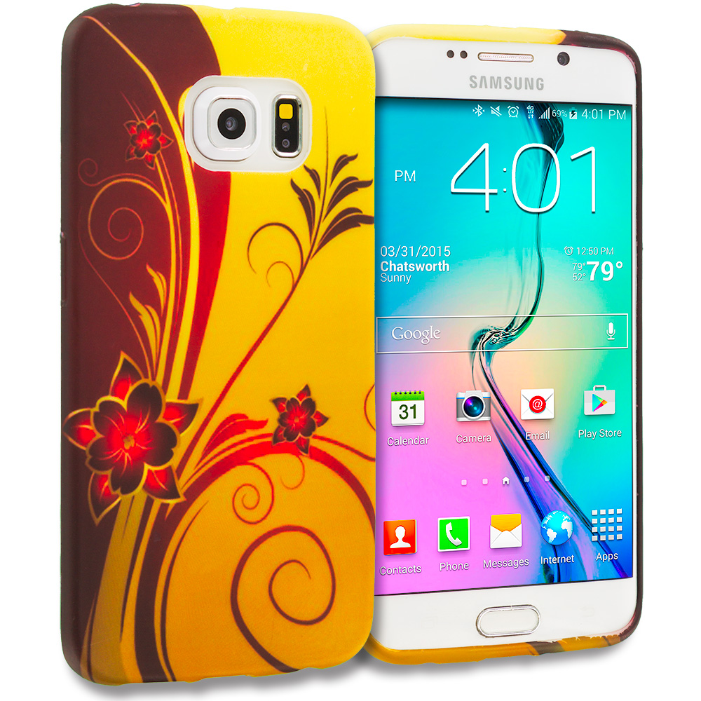 Samsung Galaxy S6 Edge Red Golden Flower TPU Design Soft Rubber Case Cover