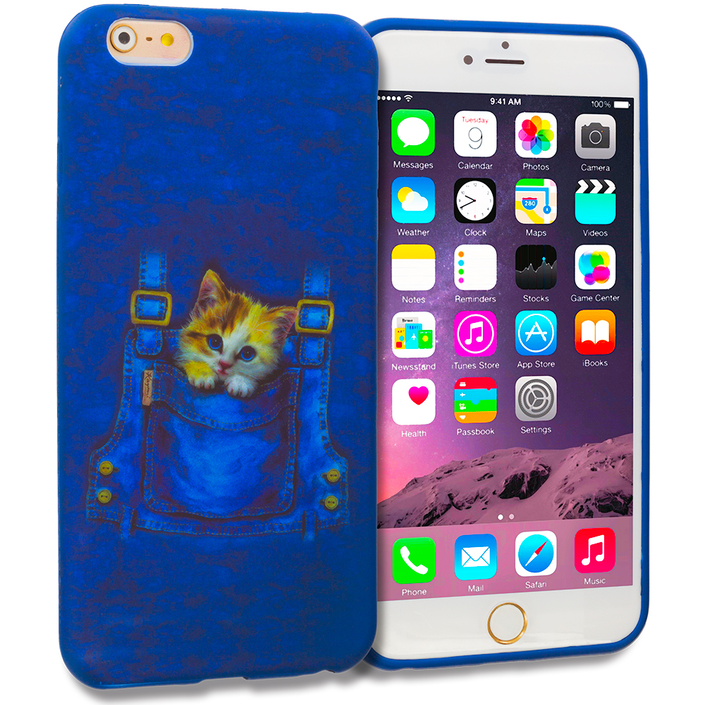 Apple iPhone 6 Plus 6S Plus (5.5) Kitty Cat Jeans TPU Design Soft Rubber Case Cover