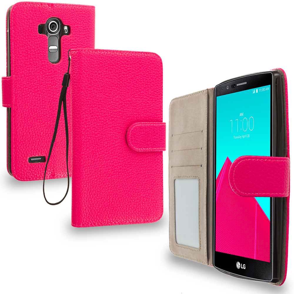 LG G4 Hot Pink Leather Wallet Pouch Case Cover with Slots