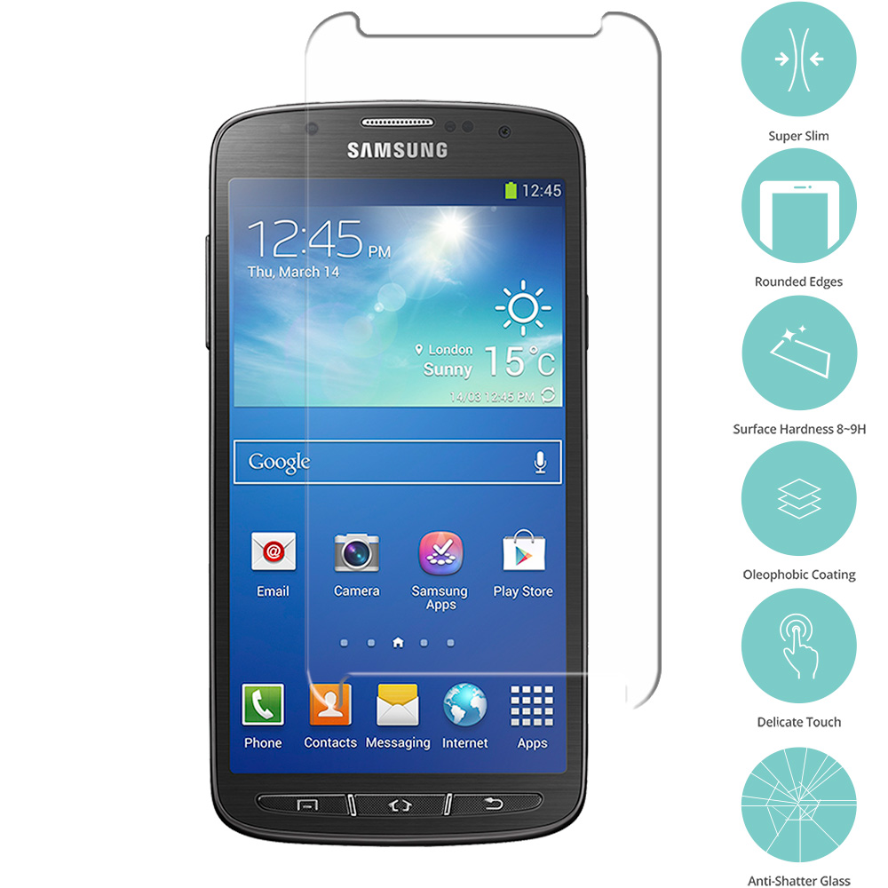 Samsung Galaxy S4 Active i537 Clear Tempered Glass Film Screen Protector Clear