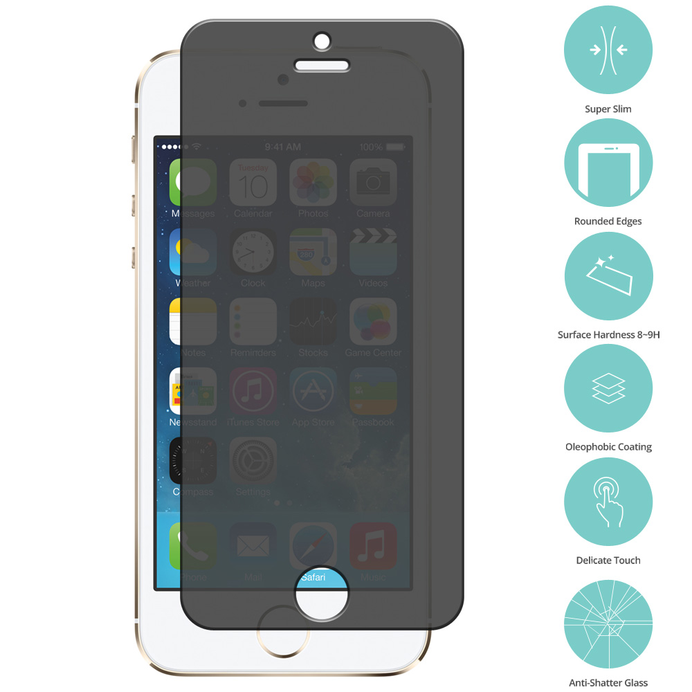 Apple iPhone 5/5S/SE Privacy Tempered Glass Film Screen Protector