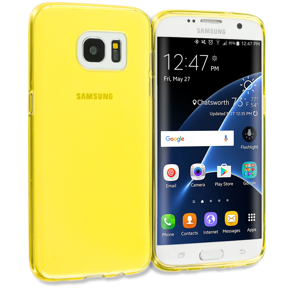Samsung Galaxy S7 Edge Yellow TPU Rubber Skin Case Cover