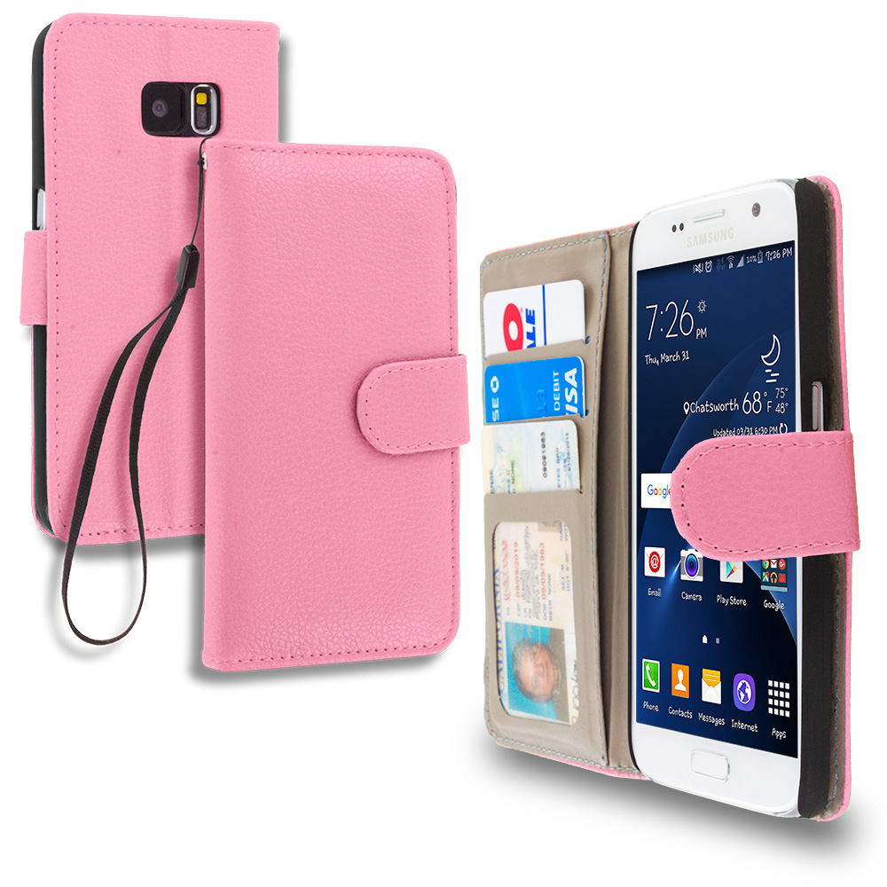 Samsung Galaxy S7 Combo Pack : Light Pink Leather Wallet Pouch Case Cover with Slots : Color Light Pink