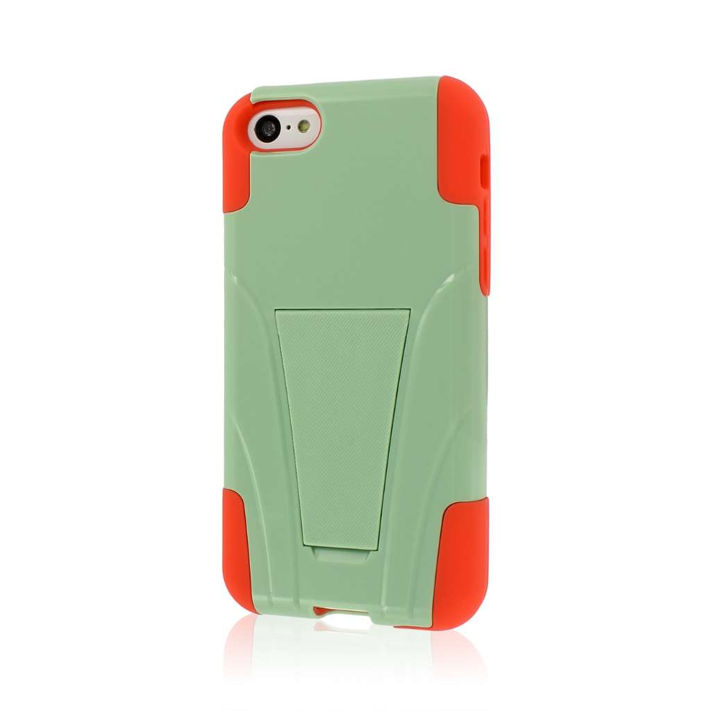Apple iPhone 5C - Coral/ Mint MPERO IMPACT X - Kickstand Case Cover