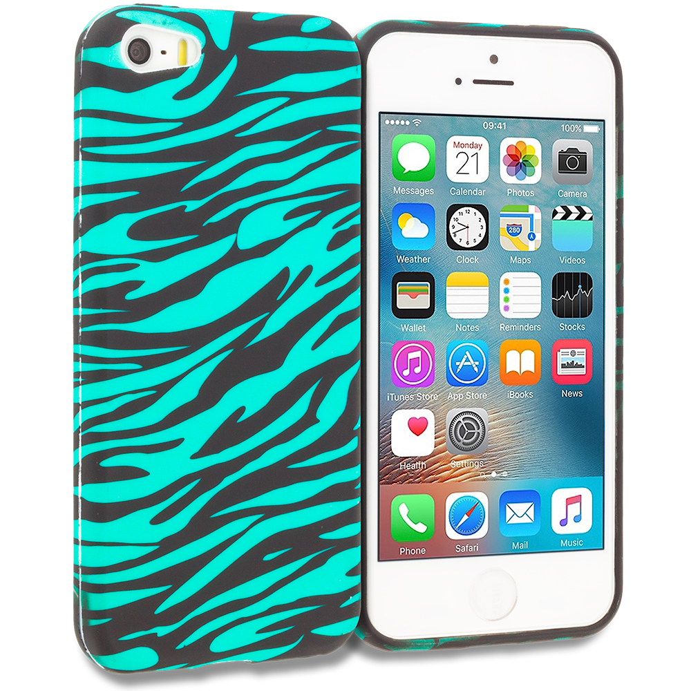Apple iPhone 5/5S/SE Combo Pack : Black/Baby Blue Zebra TPU Design Soft Rubber Case Cover : Color Black/Baby Blue Zebra