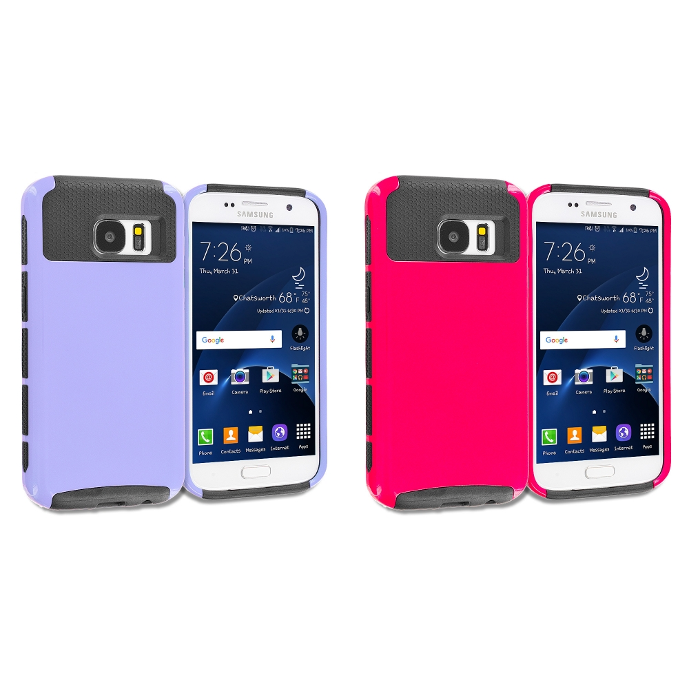 Samsung Galaxy S7 Combo Pack : Purple / Black Hybrid Hard TPU Honeycomb Rugged Case Cover