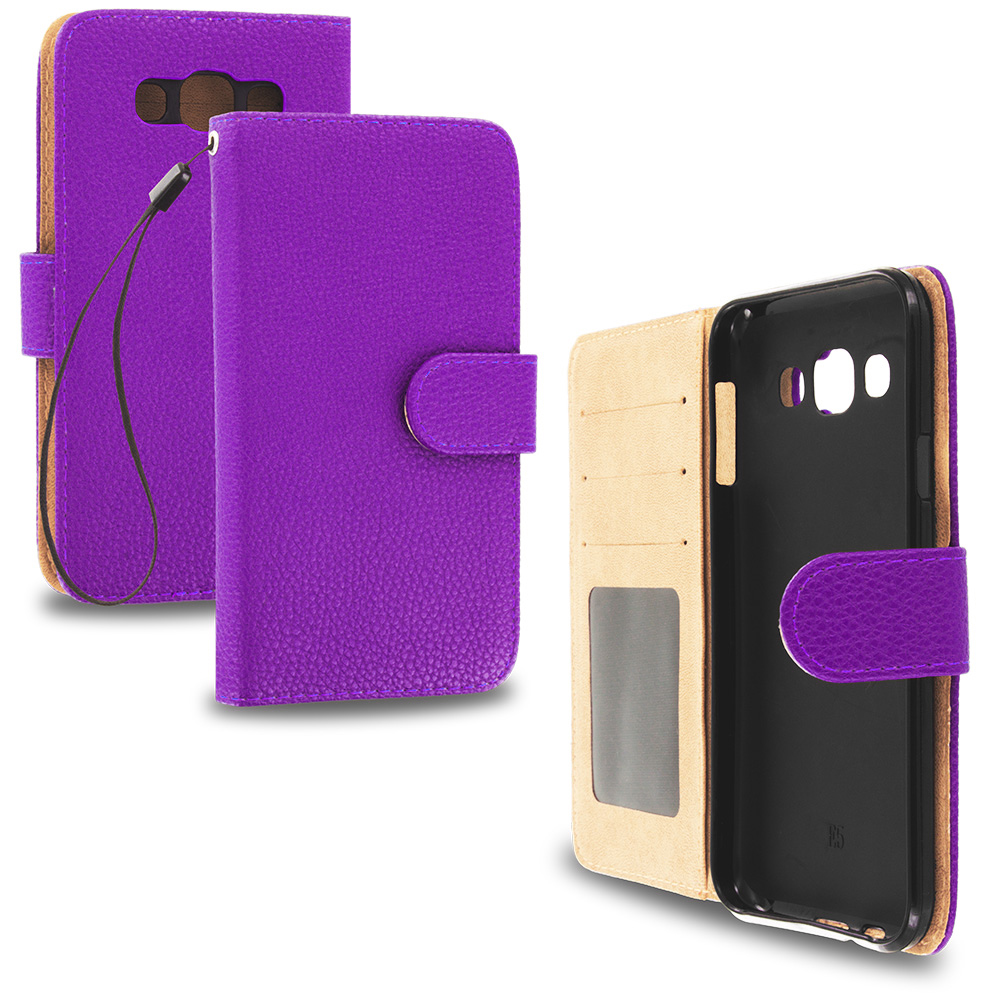 Samsung Galaxy E5 S978L Purple Leather Wallet Pouch Case Cover with Slots