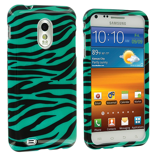 Samsung Epic Touch 4G D710 Sprint Galaxy S2 Black / Baby Blue Zebra Design Crystal Hard Case Cover