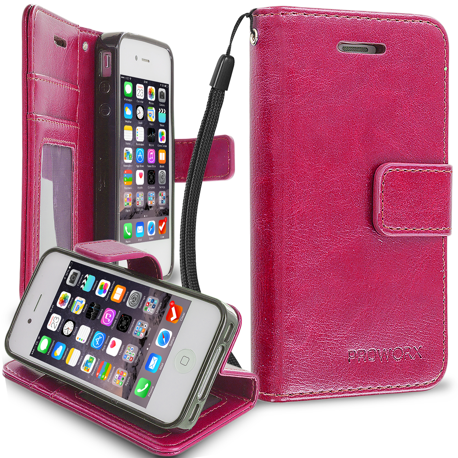 Apple iPhone 4 / 4S Hot Pink ProWorx Wallet Case Luxury PU Leather Case Cover With Card Slots & Stand