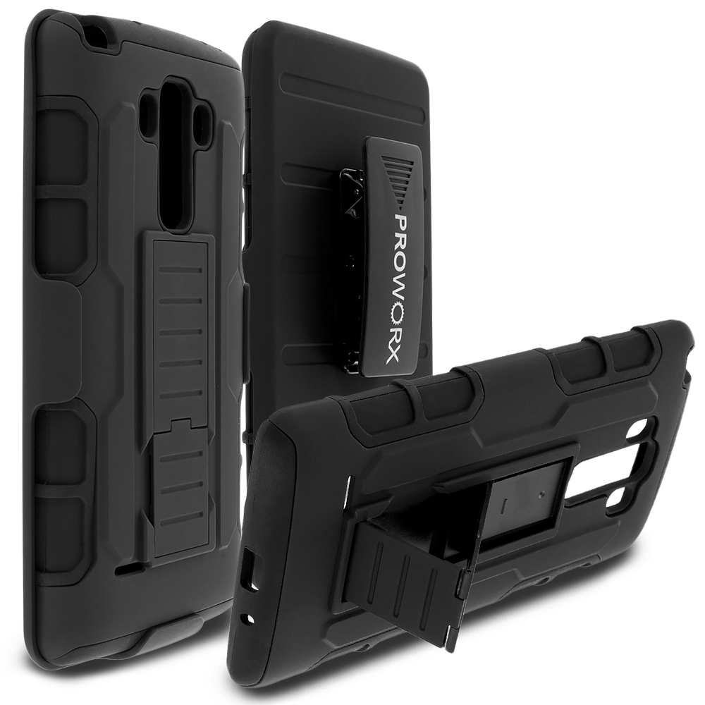 LG G Vista 2 Black ProWorx Heavy Duty Shock Absorption Armor Defender Holster Case Cover With Belt Clip
