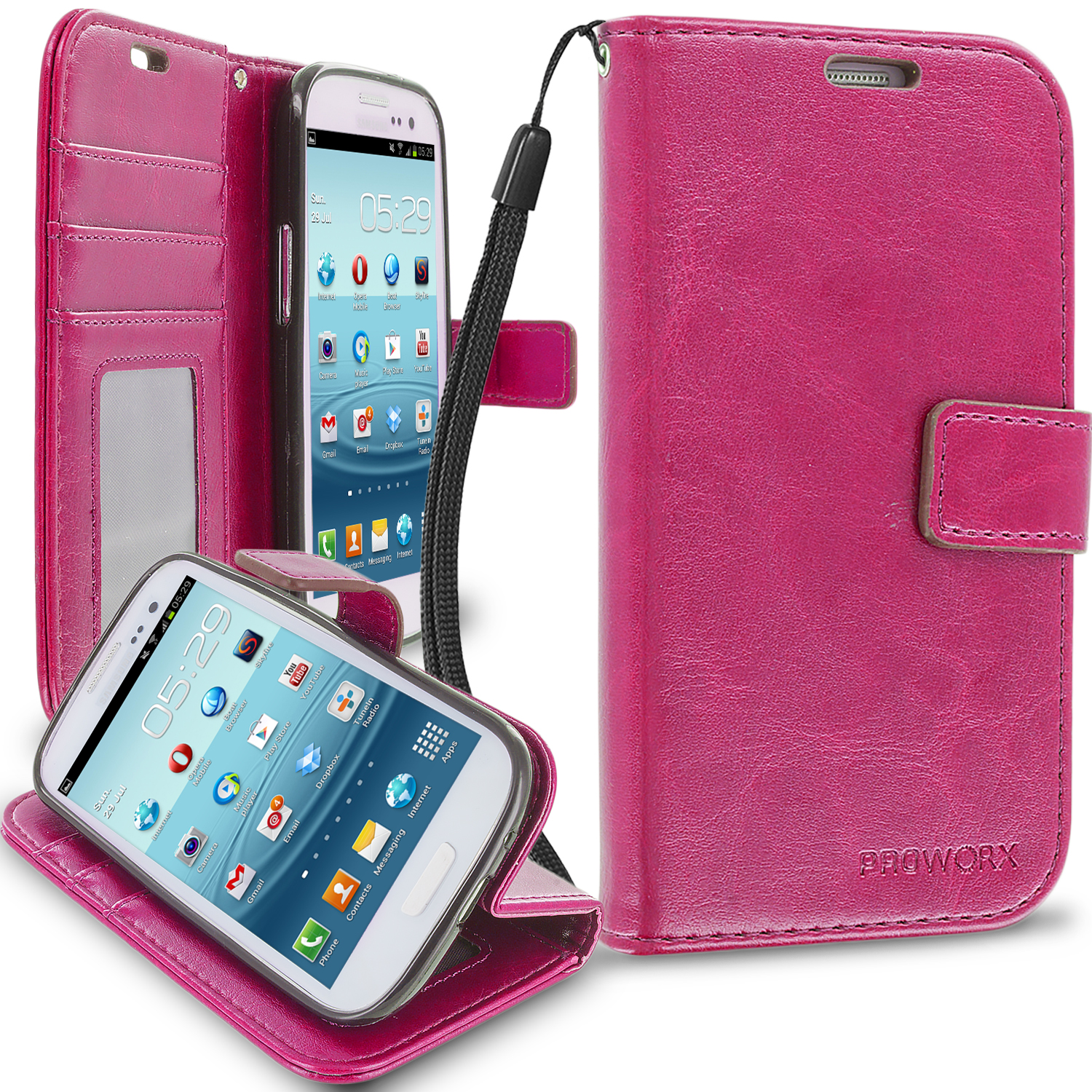 Samsung Galaxy S3 Hot Pink ProWorx Wallet Case Luxury PU Leather Case Cover With Card Slots & Stand