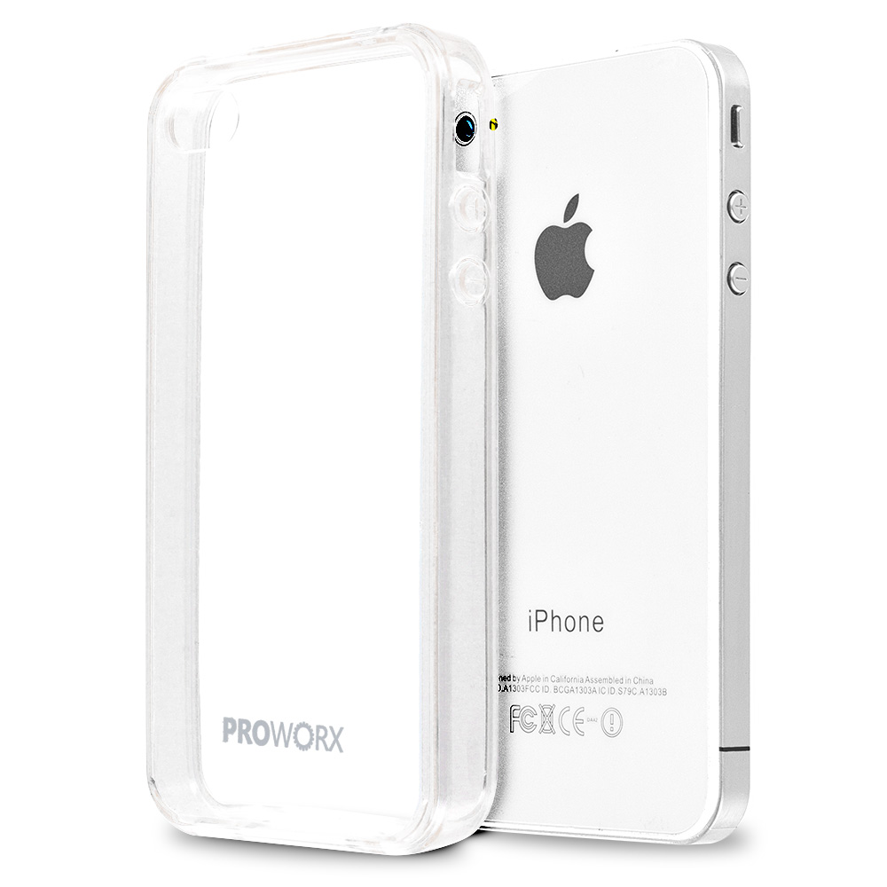 Apple iPhone 4 / 4S Clear ProWorx Shock Absorption Case Bumper TPU & Anti-Scratch Clear Back Cover