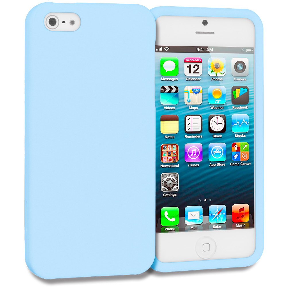 Apple iPhone 5/5S/SE Combo Pack : Baby Blue Hard Rubberized Case Cover : Color Baby Blue