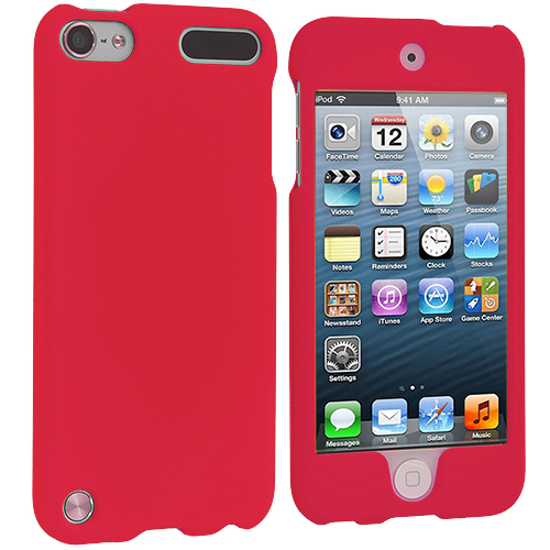 Apple iPod Touch 5th Generation 5G 5 Red (Covered) Hard Rubberized Case Cover