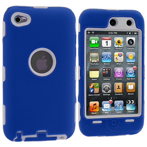 Apple iPod Touch 4th Generation Blue / White Deluxe Hybrid Deluxe Hard/Soft Case Cover