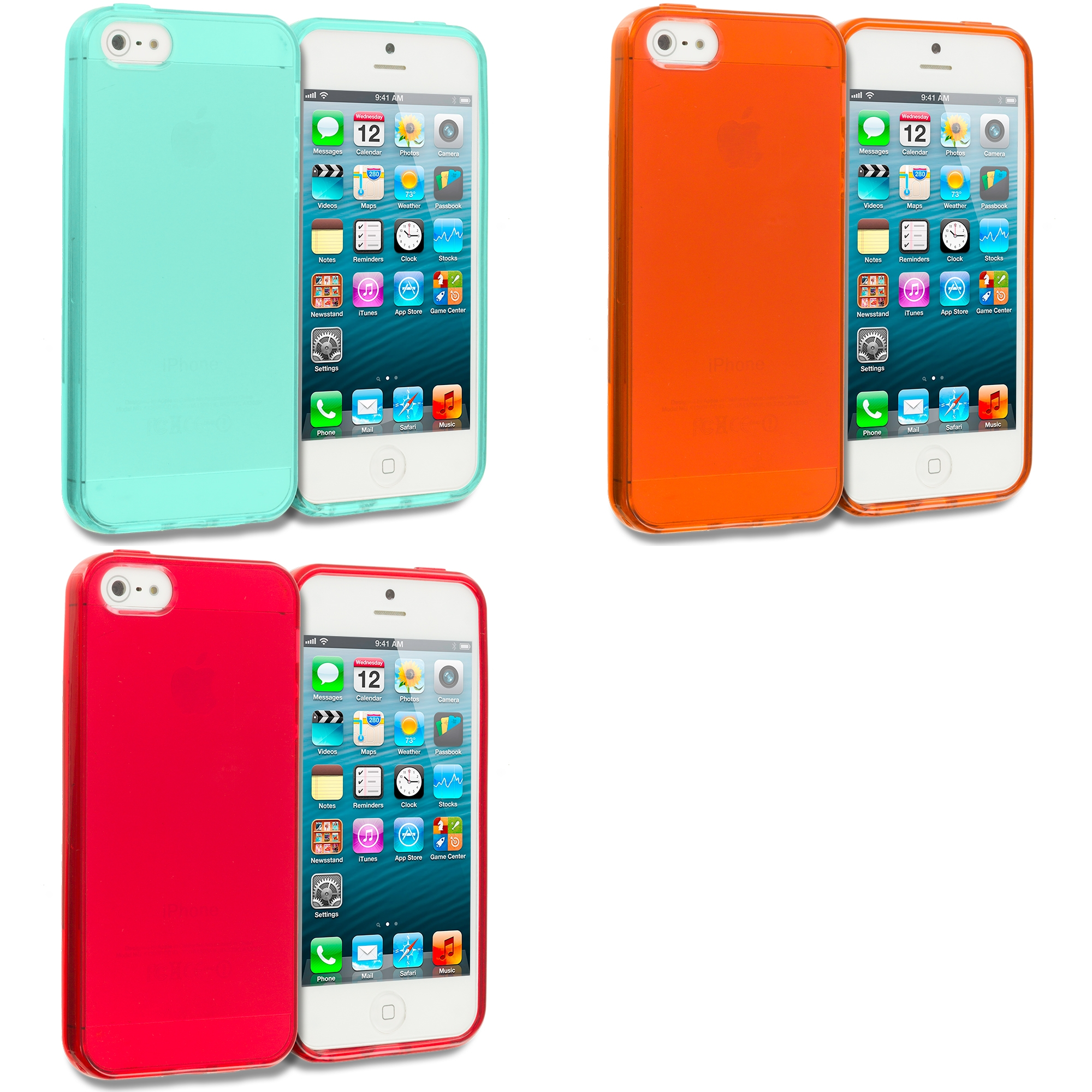 Apple iPhone 5/5S/SE Combo Pack : Mint Green Plain TPU Rubber Skin Case Cover