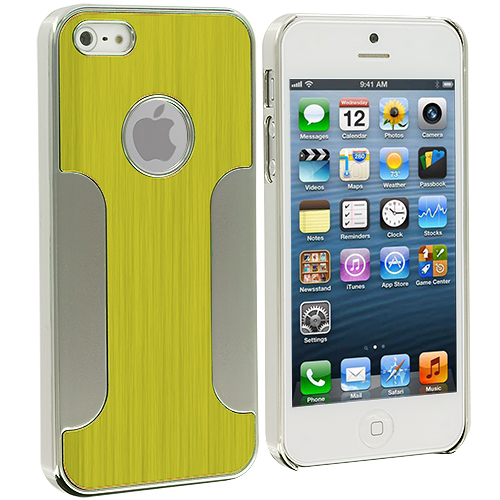 Apple iPhone 5/5S/SE Neon Green Brushed Metal Aluminum Metal Hard Case Cover