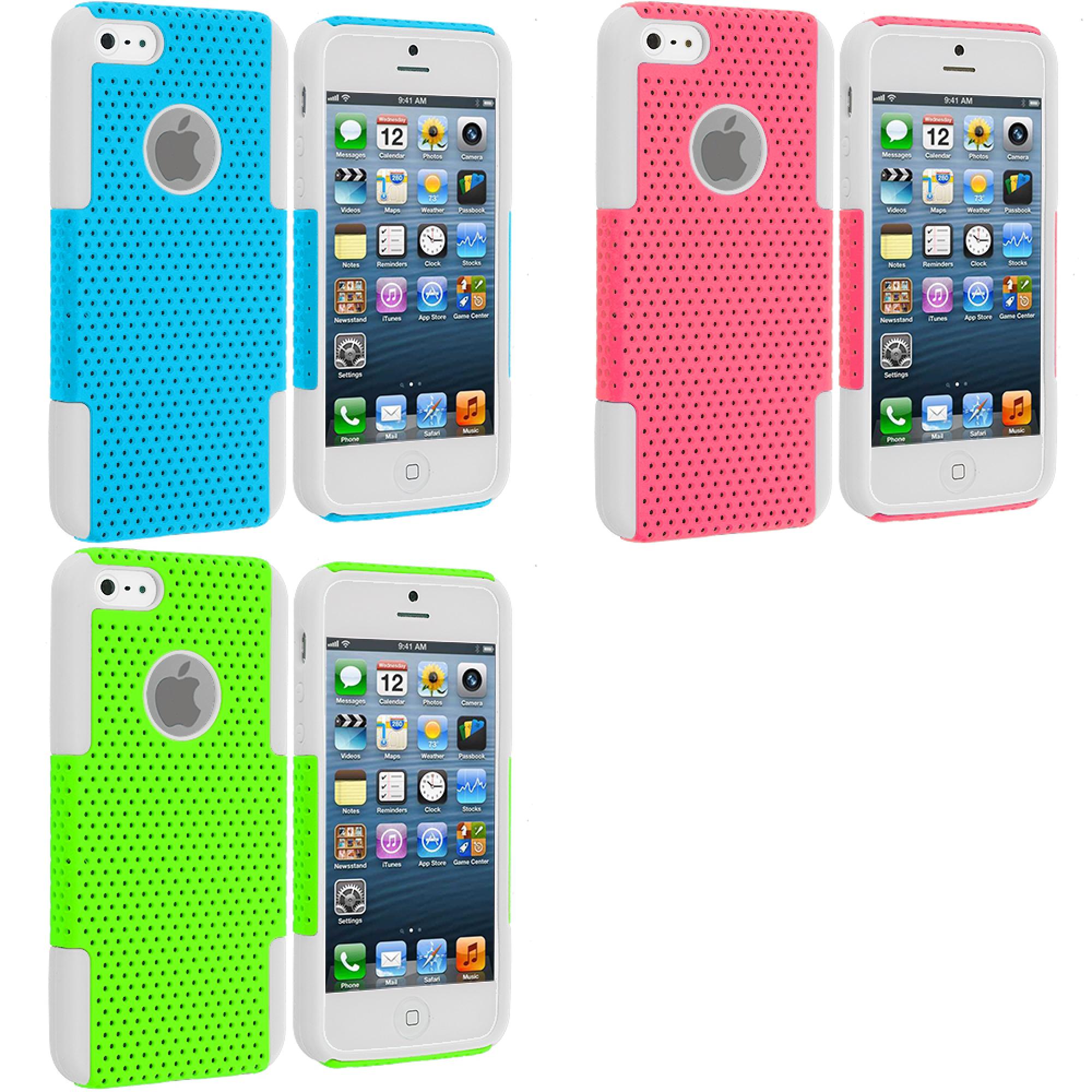 Apple iPhone 5/5S/SE Combo Pack : White / Baby Blue Hybrid Mesh Hard/Soft Case Cover