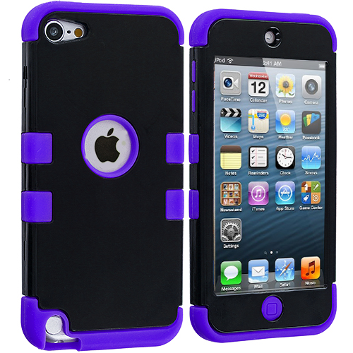 Apple iPod Touch 5th 6th Generation Purple / Black Hybrid Tuff Hard/Soft 3-Piece Case Cover