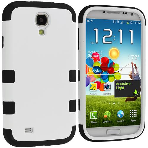 Samsung Galaxy S4 Black / White Hybrid Tuff Hard/Soft 3-Piece Case Cover