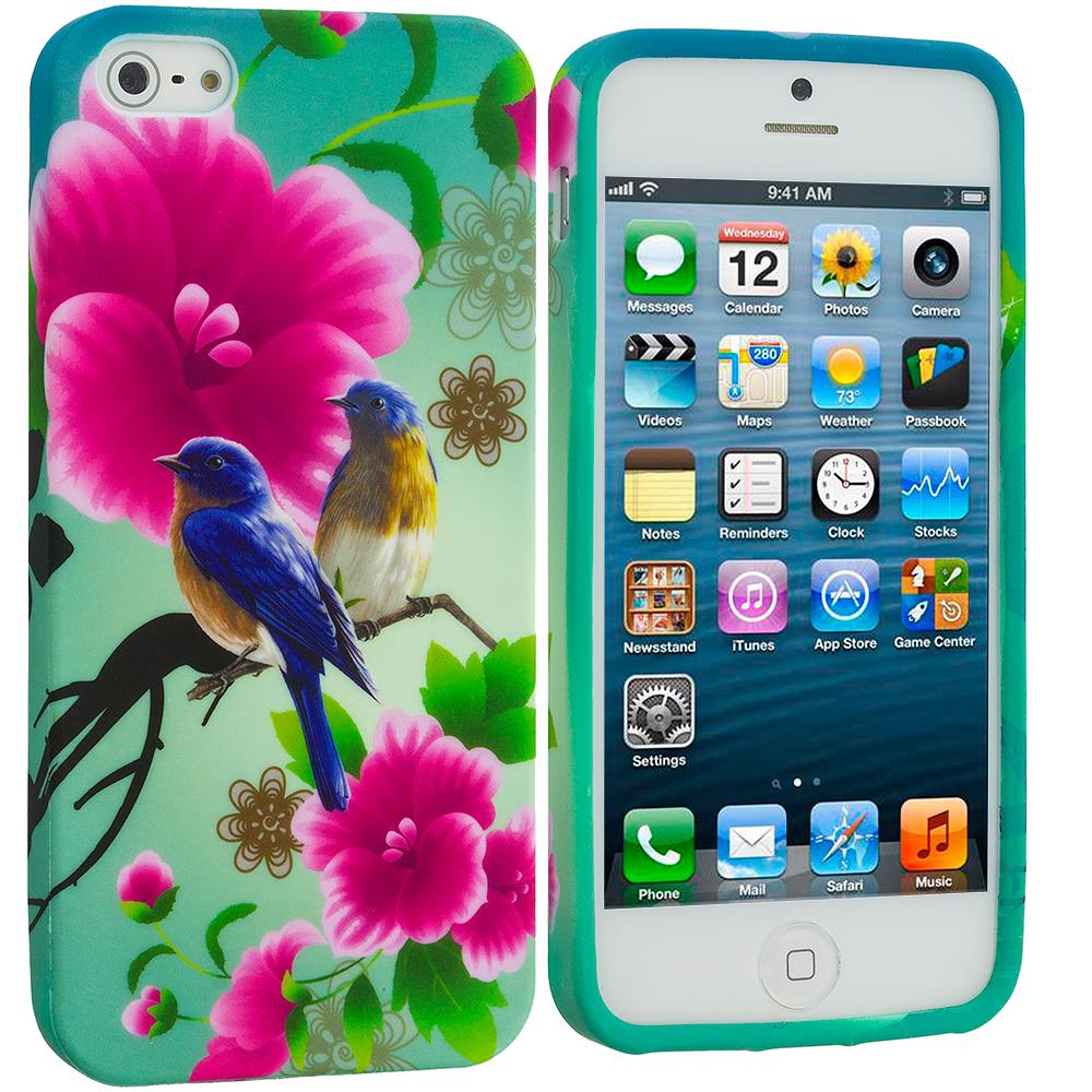 Apple iPhone 5/5S/SE Combo Pack : Blue Bird Pink Flower TPU Design Soft Case Cover : Color Blue Bird Pink Flower