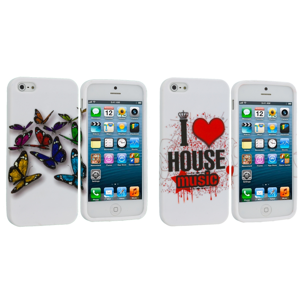 Apple iPhone 5/5S/SE Combo Pack : Blue Colorful Butterfly TPU Design Soft Case Cover