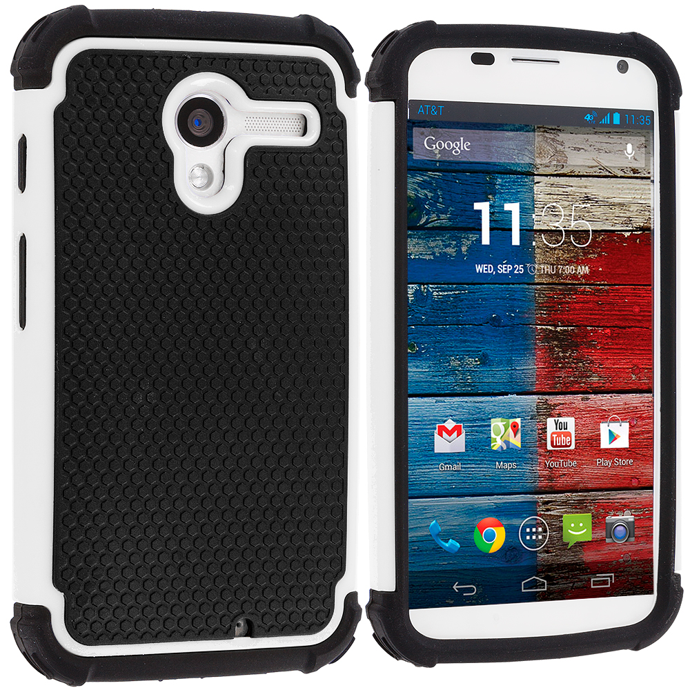 Motorola Moto X 2 in 1 Combo Bundle Pack - Yellow / White Hybrid Rugged Hard/Soft Case Cover : Color Black / White