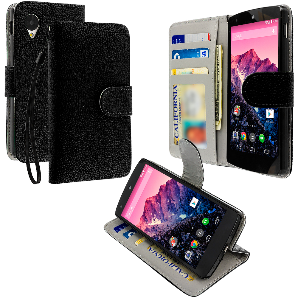 LG Google Nexus 5 Black Leather Wallet Pouch Case Cover with Slots