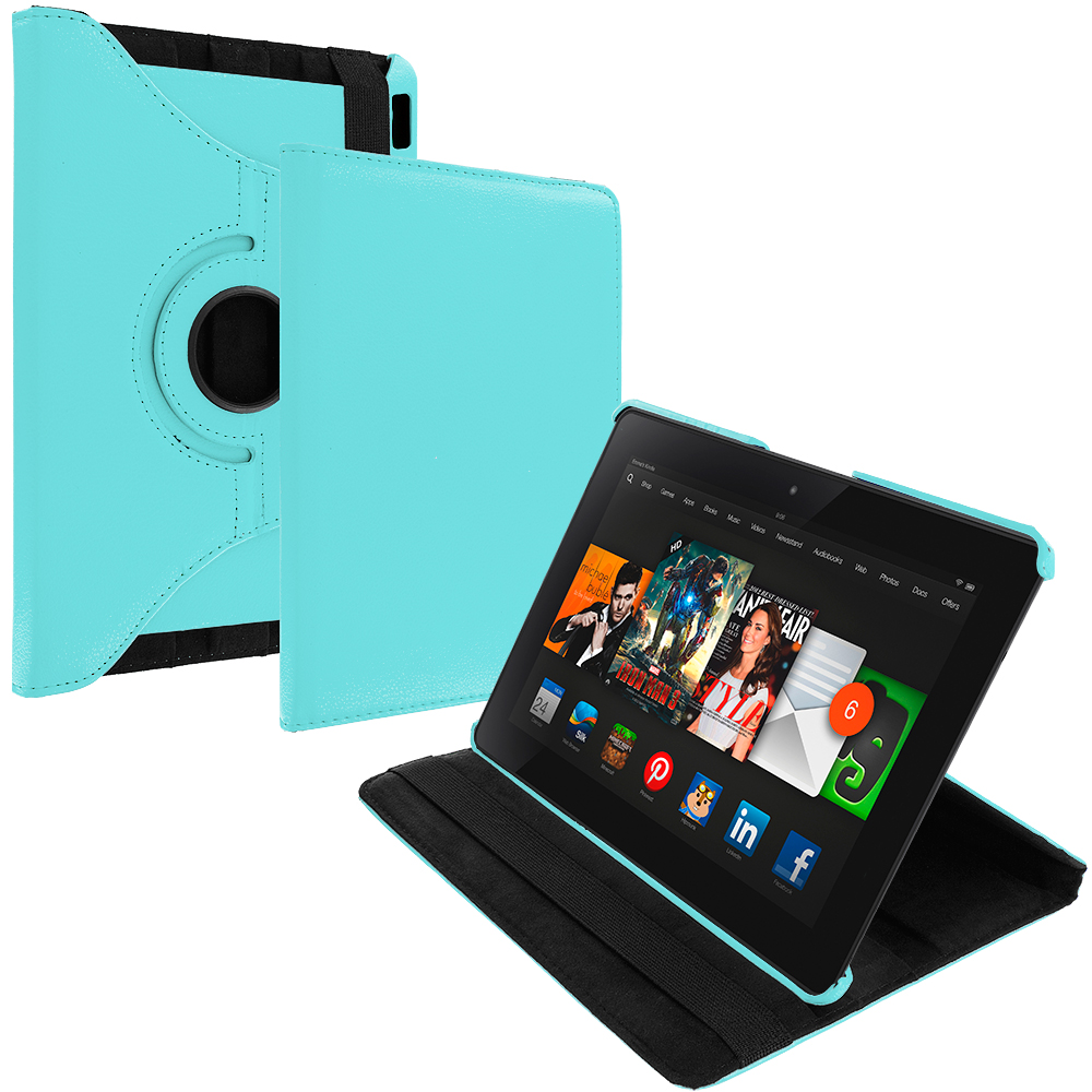 Amazon Kindle Fire HDX 8.9 Baby Blue 360 Rotating Leather Pouch Case Cover Stand