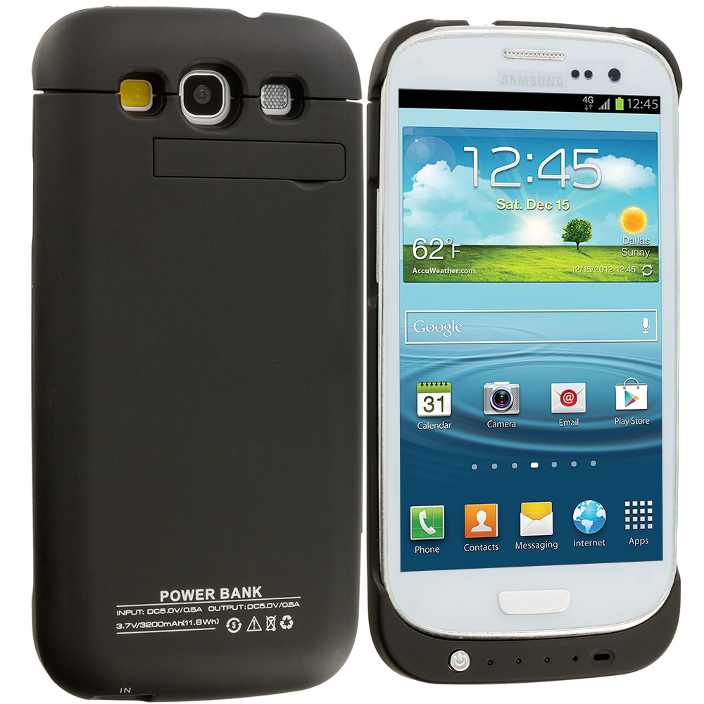 Samsung Galaxy S3 3200mAh Black Battery Case External Backup Battery Case Cover