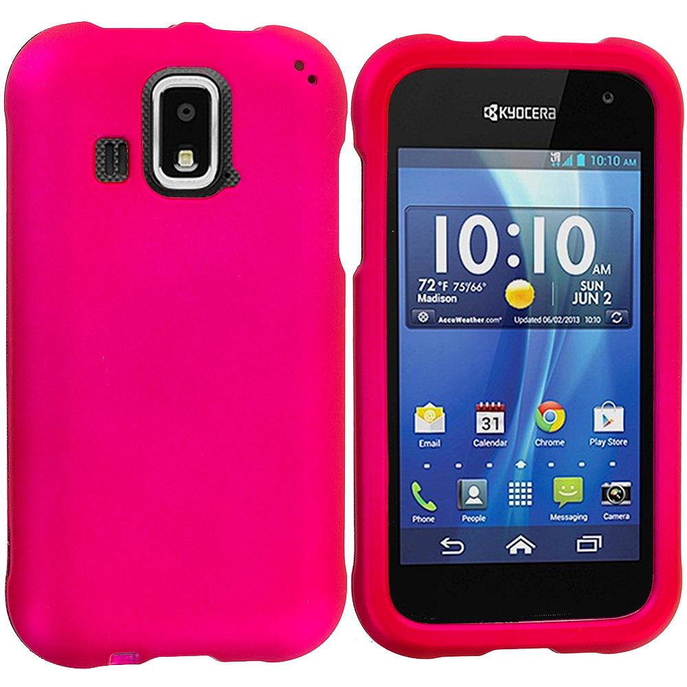 Kyocera Hydro XTRM Hot Pink Hard Rubberized Case Cover