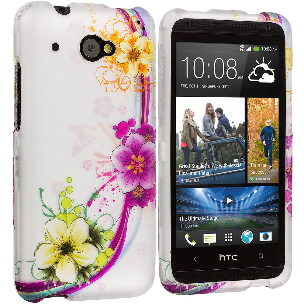 HTC Desire 601 Purple Flower Chain 2D Hard Rubberized Design Case Cover
