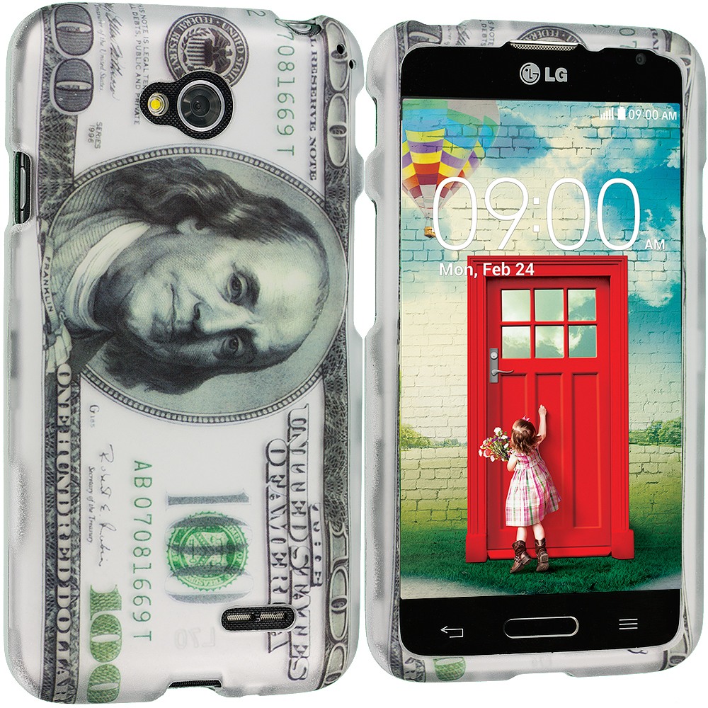 LG Optimus L90 Hundred Dollars 2D Hard Rubberized Design Case Cover