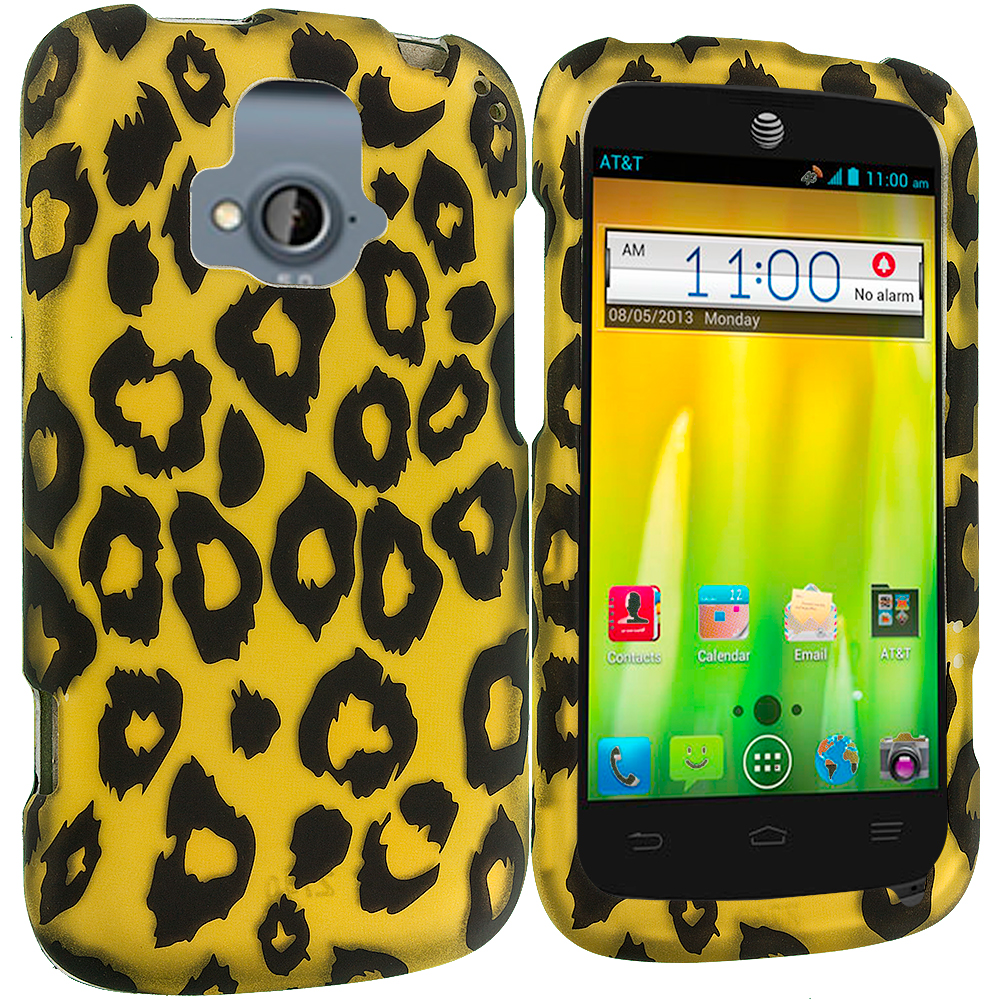ZTE Radiant Black Leopard on Golden 2D Hard Rubberized Design Case Cover