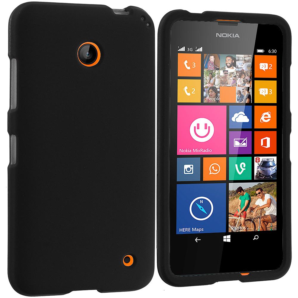 Nokia Lumia 630 635 Black Hard Rubberized Case Cover